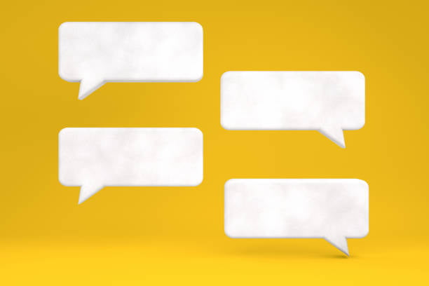 3d Rendering Of White Color Speech Bubble On Yellow Background